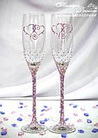 Свадебные бокалы с сердцами в стразах розово-фиолетовый хамелеон (уточняйте сроки) Ксердца