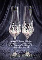 Свадебные бокалы в стразах светло-розовых и хрустальных прозрачных (уточняйте сроки) Сандра, фото 1