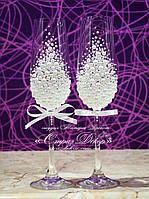 Свадебные бокалы с жемчугом, бусинками  (уточняйте сроки) МЖ-1, фото 1