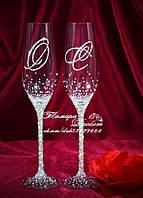 Свадебные бокалы с инициалами в стразах (уточняйте сроки) ТІШ-5, фото 1