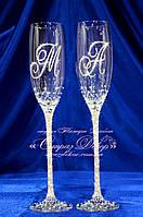 Свадебные бокалы с инициалами в стразах (уточняйте сроки) КІШ-6, фото 1