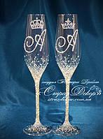 Свадебные бокалы с инициалами и коронами в стразах (уточняйте сроки) ТІШК-5, фото 1