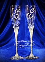Свадебные бокалы с инициалами в стразах (уточняйте сроки) ГІХ-1, фото 1