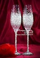 Свадебные бокалы со стразами Сваровски (уточняйте сроки) ТПР-3, фото 1