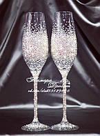 Свадебные бокалы со стразами Сваровски (уточняйте сроки, цена указана за 1 бокал) ТПР-4, фото 1