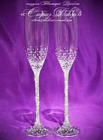 Свадебные бокалы со стразами Сваровски (уточняйте сроки) КШ-4, фото 1