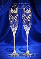 Свадебные бокалы с инициалами и коронами в стразах (уточняйте сроки, цена указана за 1 бокал) ЛІКШ-1, фото 1