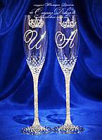 Свадебные бокалы с инициалами и коронами в стразах (уточняйте сроки) ЛІКШ-2, фото 1