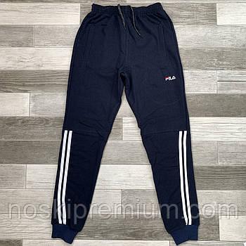 Штаны спортивные мужские хлопок с манжетом Fila, размеры 46-54, тёмно-синие, модель СМ 0105/03