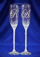 Свадебные бокалы именные в стразах (уточняйте сроки, цена указана за 1 бокал) КІШ-2, фото 1