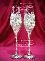 Свадебные бокалы со стразами Сваровски (уточняйте сроки) ТПР-1, фото 1