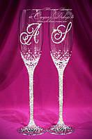 Свадебные бокалы именные в стразах (уточняйте сроки) КІШ-1, фото 1