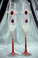 Свадебные бокалы с брошь-декором Рубин и стразами Сваровски (уточняйте сроки) ТБШ-2