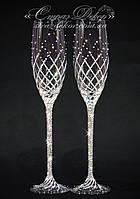 Свадебные бокалы со стразами Сваровски (уточняйте сроки) КД-5, фото 1