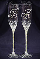 Свадебные бокалы с инициалами в стразах (уточняйте сроки) КІШ-12, фото 1