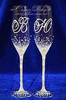 Свадебные бокалы с инициалами в стразах (уточняйте сроки) ТІШ-16, фото 1
