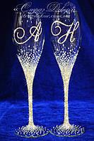 Свадебные бокалы с инициалами в стразах (уточняйте сроки) АІХ-3, фото 1