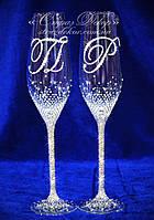 Свадебные бокалы с инициалами в стразах (уточняйте сроки) ТІШ-19, фото 1