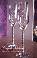 Свадебные бокалы с инициалами в стразах (уточняйте сроки, цена указана за 1 бокал) ТІД-10, фото 1