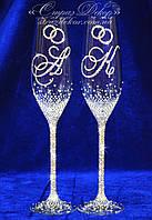 Свадебные бокалы с инициалами и кольцами в стразах (уточняйте сроки) ТІШкольца-2, фото 1