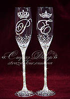 Свадебные бокалы с инициалами и коронами в стразах (уточняйте сроки) КІШК-1