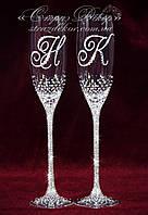 Свадебные бокалы с инициалами в стразах (уточняйте сроки) КІШ-15, фото 1