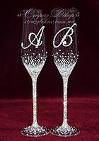 Свадебные бокалы с инициалами в стразах (уточняйте сроки) ТІШ-20, фото 1