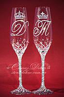 Свадебные бокалы с инициалами и коронами в стразах (уточняйте сроки) ТІДК-3, фото 1