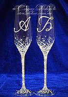 Свадебные бокалы с инициалами в стразах (уточняйте сроки) ТІД-12, фото 1