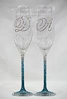 Свадебные бокалы с инициалами в цветных стразах (уточняйте сроки) ТІОШ-3