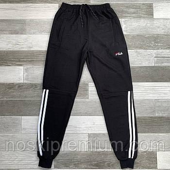 Штаны спортивные мужские хлопок с манжетом Fila, размеры 46-54, чёрные, модель СМ 0105/02