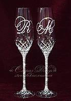 Свадебные бокалы с инициалами в стразах (уточняйте сроки) ТІД-14, фото 1