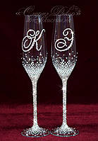 Свадебные бокалы с инициалами в стразах (уточняйте сроки) ТІШ-26, фото 1