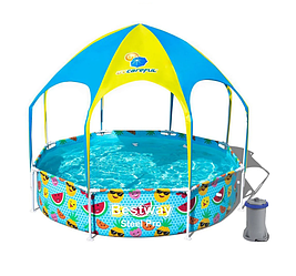 Каркасный бассейн Bestway 56432-3, 244 x 51 см навес, душ (2 006 л/ч, подстилка)
