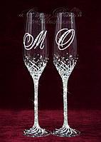 Свадебные бокалы с инициалами в стразах (уточняйте сроки) ТІД-16, фото 1