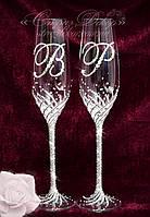 Свадебные бокалы с инициалами в стразах (уточняйте сроки) ТІД-18, фото 1