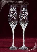 Свадебные бокалы с инициалами и коронами в стразах (уточняйте сроки) ТІДК-10, фото 1