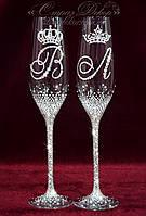 Свадебные бокалы с инициалами и коронами в стразах (уточняйте сроки) ТІШК-12, фото 1