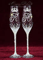 Свадебные бокалы с инициалами и коронами в стразах (уточняйте сроки) ТІШК-13, фото 1