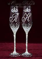 Свадебные бокалы с инициалами и коронами в стразах (уточняйте сроки) ТІШК-14, фото 1