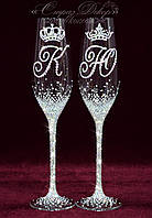 Свадебные бокалы с инициалами и коронами в стразах (уточняйте сроки) ТІШК-15, фото 1