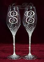 Свадебные бокалы с инициалами в стразах (уточняйте сроки) ВІШ-3, фото 1