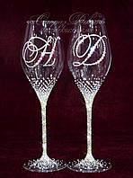 Свадебные бокалы с инициалами в стразах (уточняйте сроки) ВІШ-4, фото 1