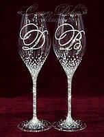 Свадебные бокалы с инициалами в стразах (уточняйте сроки) ВІШ-5, фото 1