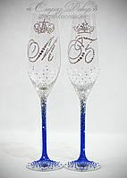Свадебные бокалы омбре с инициалами и коронами в стразах (уточняйте сроки) ТІОШК-2, фото 1