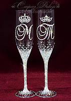 Свадебные бокалы с инициалами и коронами в стразах (уточняйте сроки) СІШК-2, фото 1