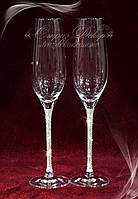 Свадебные бокалы ножка в стразах Сваровски (уточняйте сроки, цена указана за 1 бокал) ТН-2, фото 1