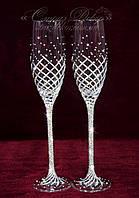 Свадебные бокалы со стразами  (уточняйте сроки) КД-7, фото 1