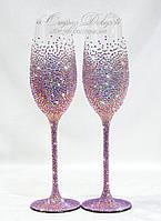 Свадебные бокалы со стразами Сваровски СПР-2, фото 1