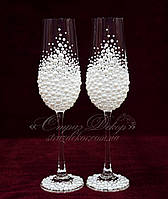 Свадебные бокалы с жемчугом, бусинками  (уточняйте сроки) МЖ-5, фото 1
